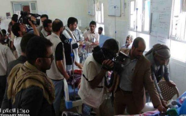 فريق إعلامي يزور مسرح جريمة العدوان السعودي الأمريكي في ضحيان بصعدة