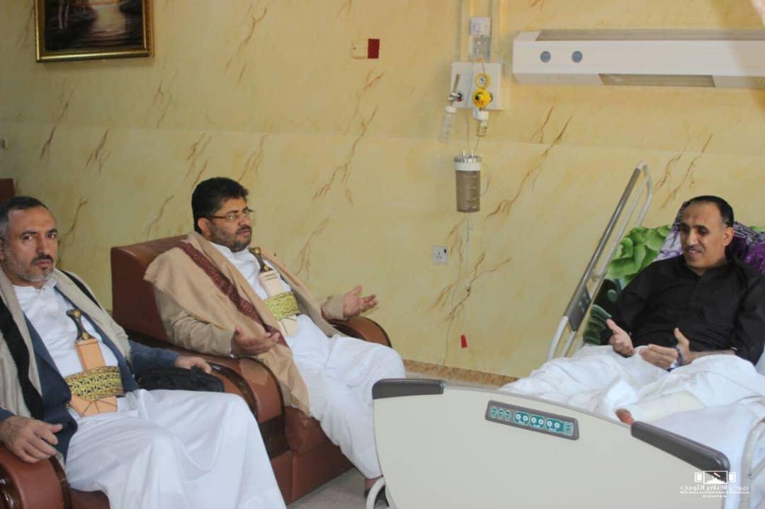 رئيس اللجنة الثورية العليا عضو المجلس السياسي الأعلى ووزير الداخلية يزوران رئيس اتحاد الإعلاميين اليمنيين